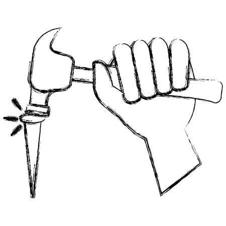 hand with hammer and nail vector illustration design Ilustrace
