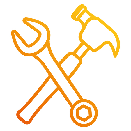 hammer with wrench crossing vector illustration design Illustration