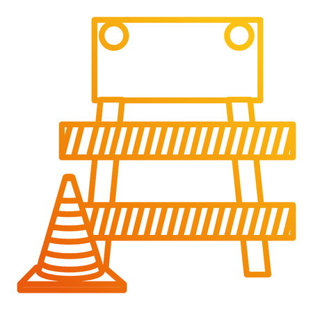 construction barricade fence with cone vector illustration design 向量圖像