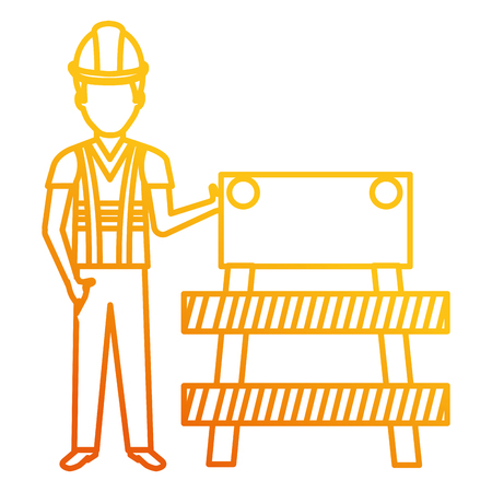 builder with construction barricade vector illustration design