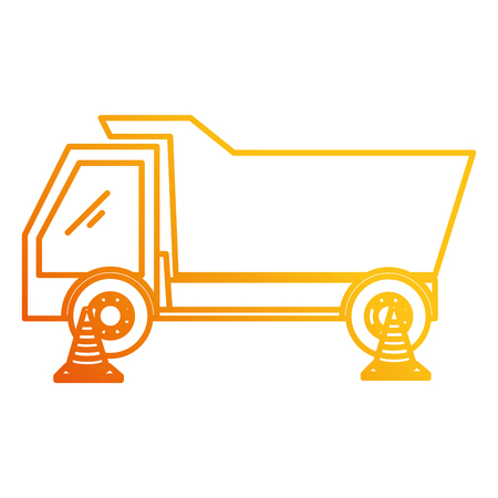 dump truck with cones vector illustration design