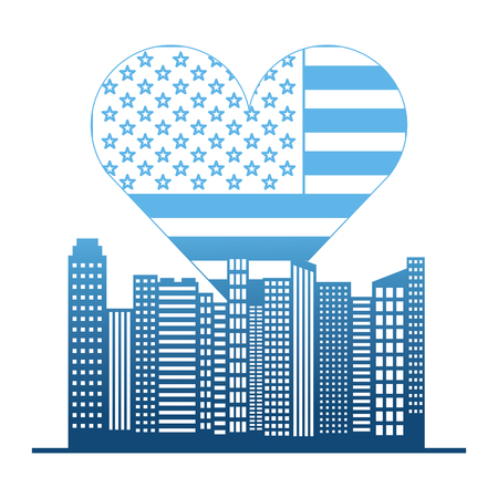 usa flag heart and buildings vector illustration design