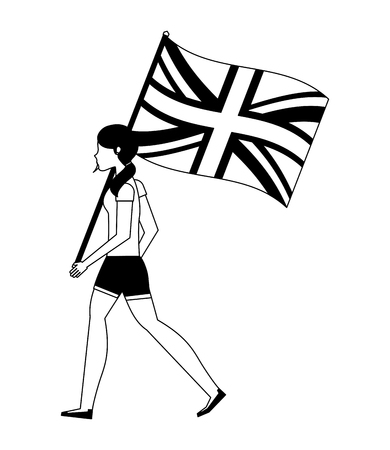 woman with flag in pole of great britain isolated icon vector illustration design