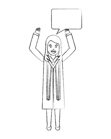 young woman graduated with hands up and speech bubble vector illustration design