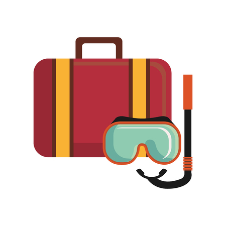 suitcase travel with snorkel mask vector illustration design