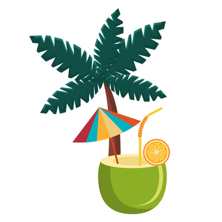 coconut cocktail with tree palm vector illustration design