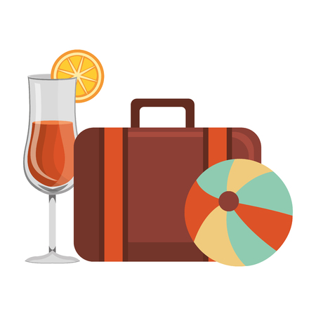 suitcase travel with balloon beach and cocktail vector illustration design Vetores