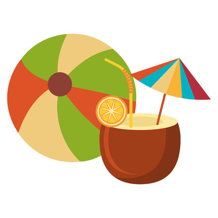 coconut cocktail with balloon beach vector illustration design