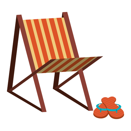 beach chair with flip flops vector illustration design