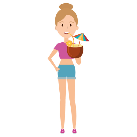 young woman with coconut cocktail vector illustration design