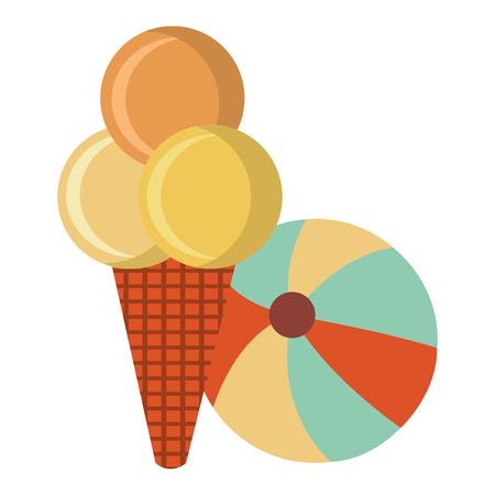 beach balloon with ice cream vector illustration design