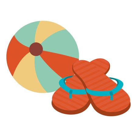 beach balloon with sandals vector illustration design