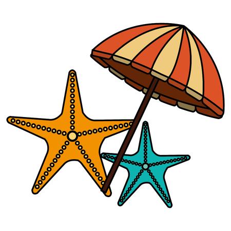 umbrella beach with starfish vector illustration design