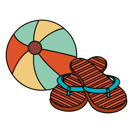 beach balloon with sandals vector illustration design