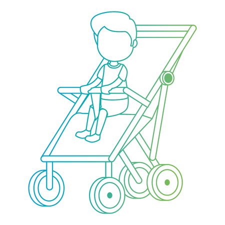 baby boy in cart vector illustration design Иллюстрация