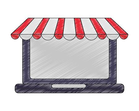 laptop online store buy online vector illustration drawing Illustration