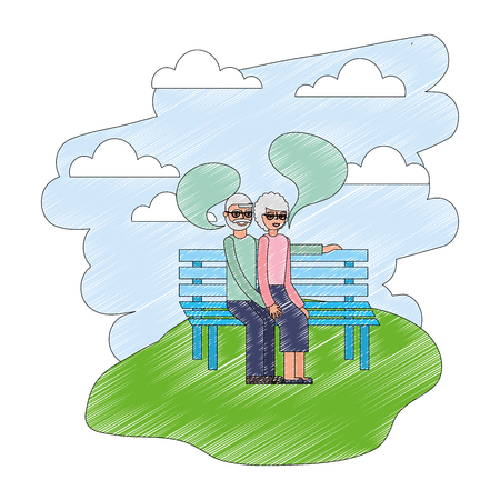 grandparents talking in the bench park vector illustration Illustration