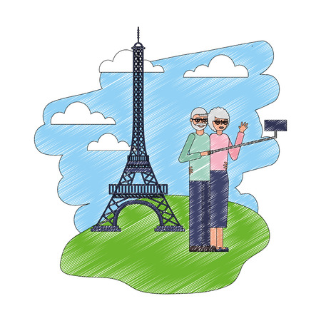 grandparents making selfie eiffel tower landscape vector illustration