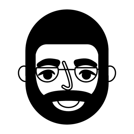 bearded grandfather face with glasses vector illustration Foto de archivo - 105555163