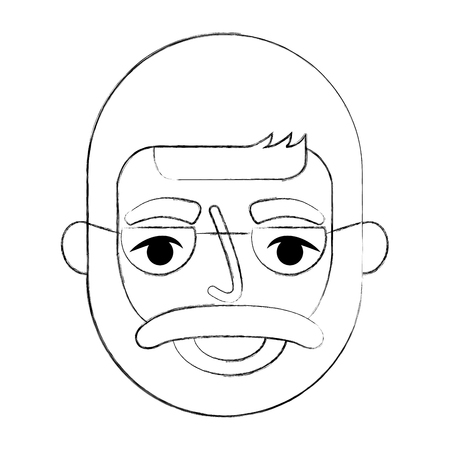bearded grandfather face with glasses vector illustration
