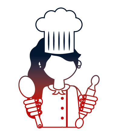 restaurant female chef with roller pin and spoon vector illustration design