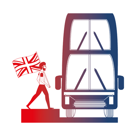 bus transport and man with flag great britain vector illustration design Stock Illustratie