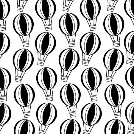 balloon air hot flying pattern vector illustration design