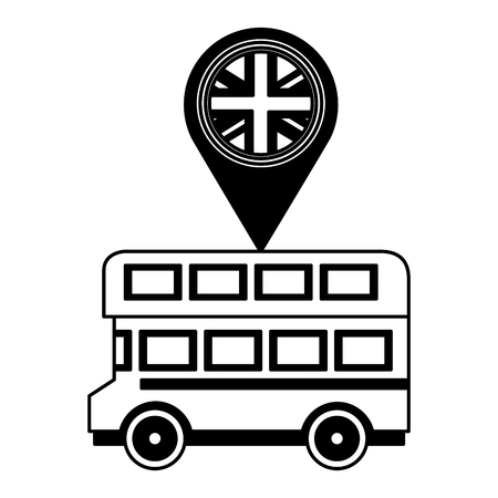 bus transport and pin location with flag of great britain vector illustration design Stock Illustratie