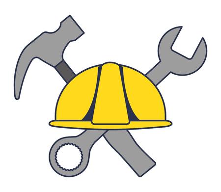 Construction de casque avec marteau et clé à outils croisés conception d'illustration vectorielle