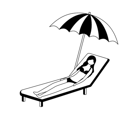 woman with swimsuit in beach chair and umbrella icon vector illustration design