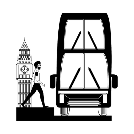 bus transport with man and big ben tower british vector illustration design