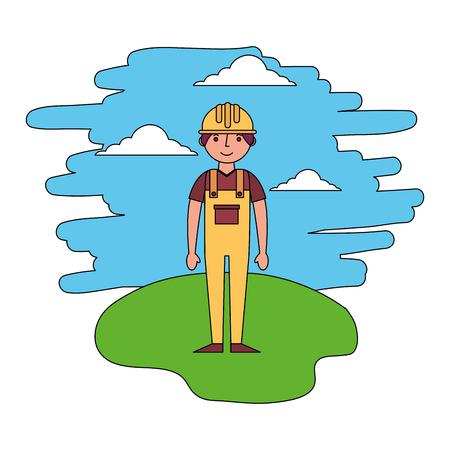 builder man standing in the landscape vector illustration