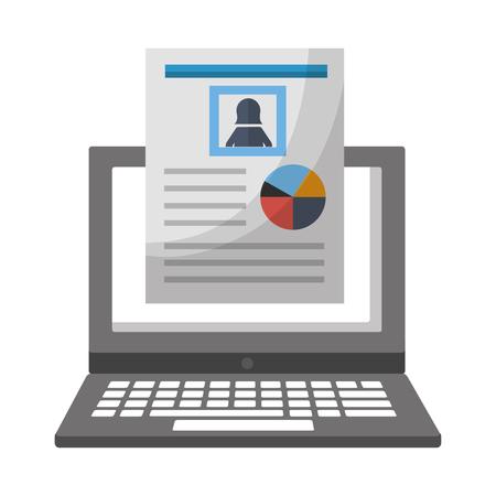 human resources laptop female cv document vector illustration Vectores