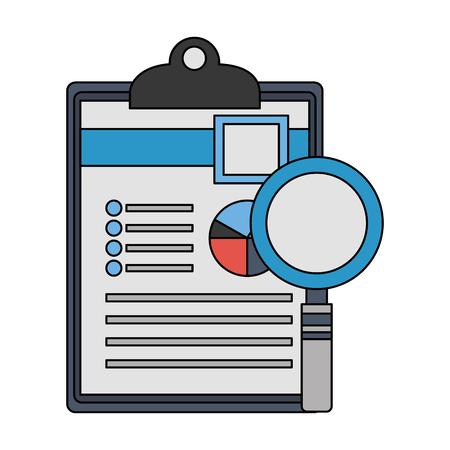 office clipboard document and magnifying glass vector illustration Ilustração Vetorial
