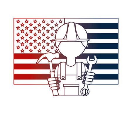 man builder with flag USA and tools vector illustration design