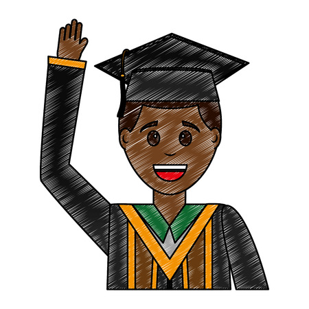 young man graduated avatar character vector illustration design 스톡 콘텐츠