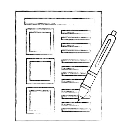 document file with pen isolated icon vector illustration design