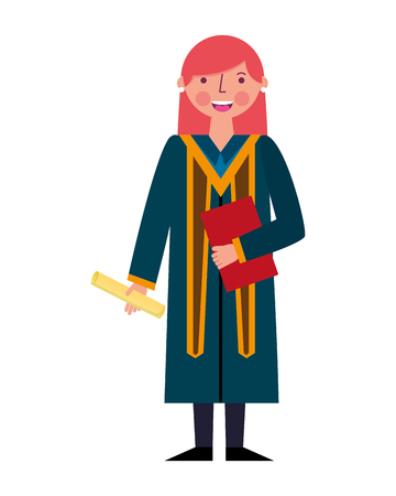 graduate woman in graduation robe and cap holds diploma vector illustration Archivio Fotografico - 105556494