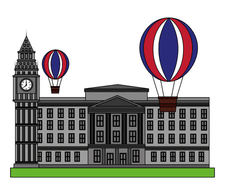 london clock station with air balloons icon vector illustration design