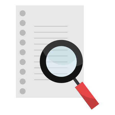 magnifying glass and sheet notebook vector illustration design Çizim