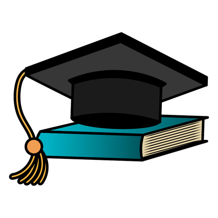 graduation hat with ntextbook vector illustration design
