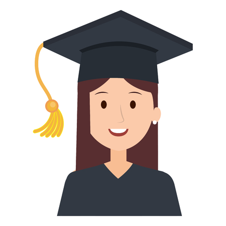 woman student graduation with uniform vector illustration design