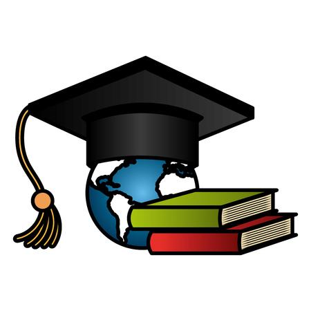 graduation hat with books and earth planet vector illustration design Ilustração