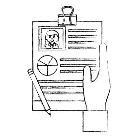 hand with checklist and curriculum vitae vector illustration design Illustration