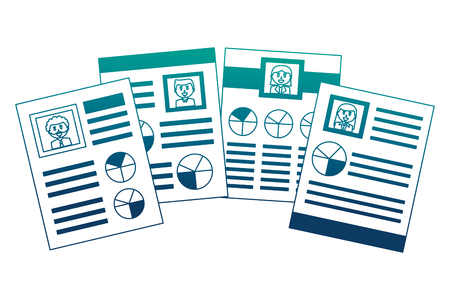 human resources documents personal information vector illustration neon image