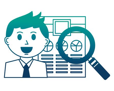 businessman and office report magnifying glass vector illustration neon image Ilustração