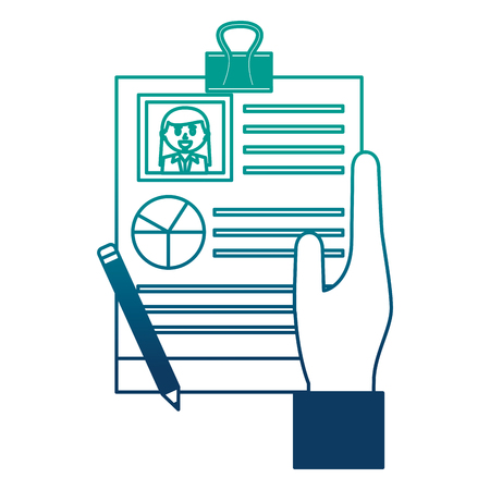 hand with human resources document report pencil vector illustration neon image