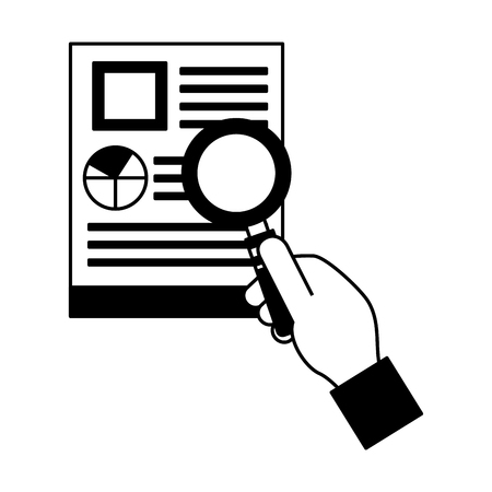 hand holding paper documents report magnifying glass vector illustration monochrome Vectores