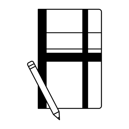 office notebook pencil office supplies vector illustration monochrome