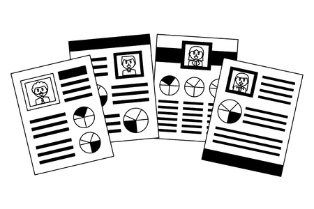 human resources documents personal information vector illustration monochrome